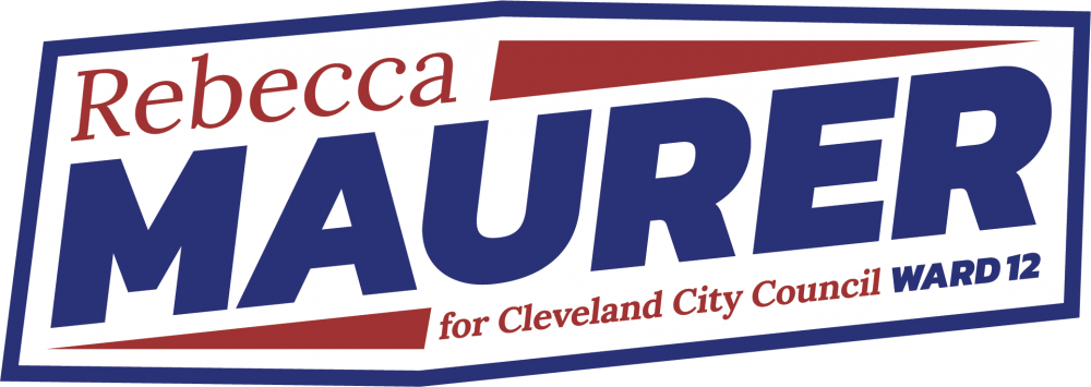 A text logo inside of a rectangular hexagon with red and blue text reading Rebecca Maurer for Cleveland City Council Ward 12